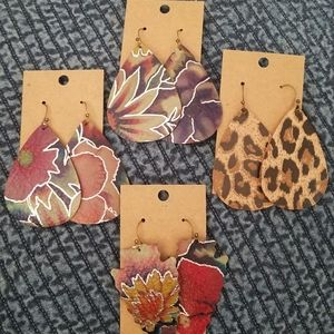 Genuine leather printed earrings!